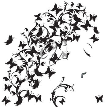 Woman profile with black butterflies
