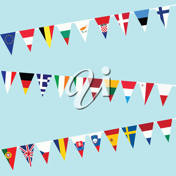 Bunting of flags from European Union
