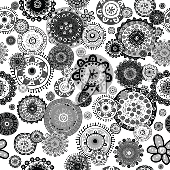 Black and white floral seamless over white background
