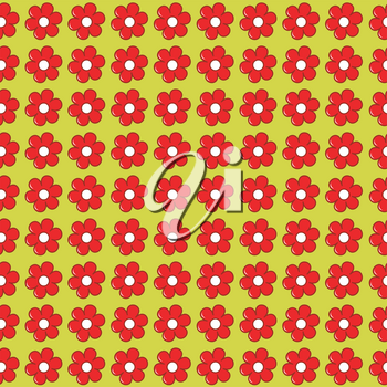 Floral seamless with flowers in a row side by side and one below the other