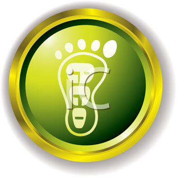 Royalty Free Clipart Image of a Green Buttons With an Eco Footprint