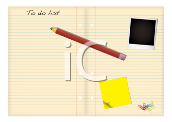 Royalty Free Clipart Image of a To Do List, Polaroid, Paper, Clips and a Pencil
