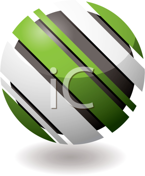 Royalty Free Clipart Image of a Green and White Marble