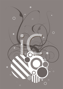 Royalty Free Clipart Image of a Gray Background With a Design in the Centre