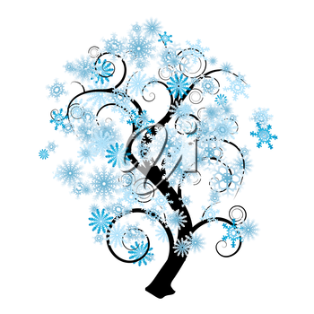 Blue and white snowflake abstract tree in silhouette
