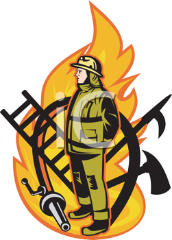 Royalty Free Clipart Image of a Firefighter Symbol