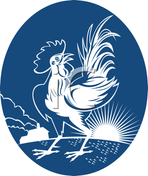 Royalty Free Clipart Image of a Rooster at Sunrise