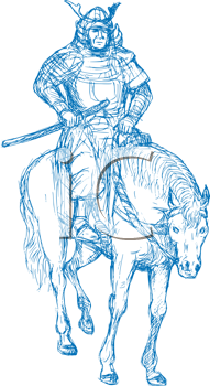 Royalty Free Clipart Image of a Samurai Warrior on a Horse