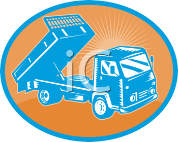 Royalty Free Clipart Image of a Flatbed Truck Lifting