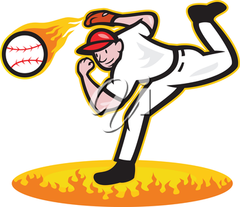 Illustration of a american baseball player pitcher outfielder throwing ball on fire isolated on white background.