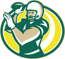 Illustration of an american football gridiron QB quarterback player passing throwing ball facing front set inside oval shape done in retro style.