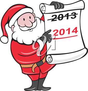 Illustration of Father Christmas Santa Claus showing a paper scroll with year 2013 crossed out and pointing to New Year 2014 on isolated background done in cartoon  style.