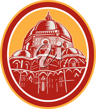 Illustration of the Dome of Florence Cathedral or Il Duomo in Piazza del Duomo, Firenze, Italy viewed from front set inside oval done in retro woodcut style.
