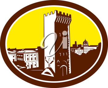 Illustration of the Tower of San Niccolo in Florence , Firenze, Italy viewed set inside oval done in retro woodcut style.