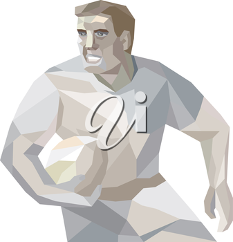 Low polygon illustration of a rugby player with ball running set inside shield crest nonagon shape on isolated background.