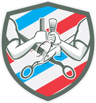 Illustration of barber hands one holding comb and the ohter hand holding brush with scissors and barber pole strips stripes in the background set inside shield crest done in retro style.