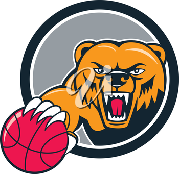 Illustration of a grizzly bear head angry growling holding basketball viewed from front set inside circle on isolated background done in cartoon style.