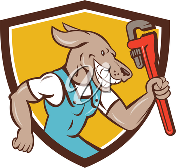 Illustration of a dog plumber holding monkey wrench running viewed from the side set inside shield crest on isolated background done in cartoon style.