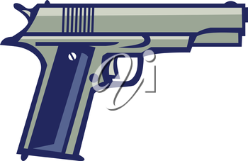 Illustration of a 1911 single-action, semi-automatic, magazine-fed, recoil-operated sidearm pistol chambered for the .45 caliber ACP cartridge viewed from side on isolated white background done in ret