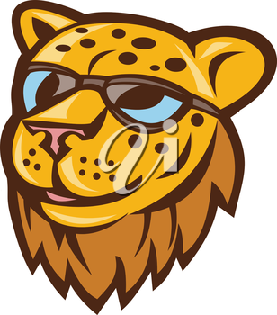 Illustration of a cheetah head smiling wearing sunglasses viewed from front set on isolated background done in cartoon style.