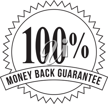 Icon mark seal sign  illustration showing 100% Percent Money Back Guarantee stamp, rosette or badge on isolated background done in retro black and white style.
