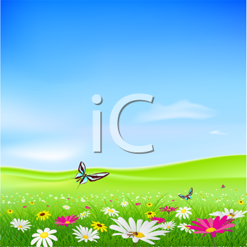 Royalty Free Clipart Image of a Summer Background With Flowers and Butterflies