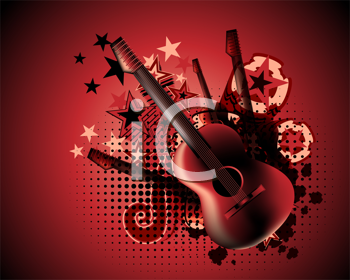 Royalty Free Clipart Image of a Guitar Background