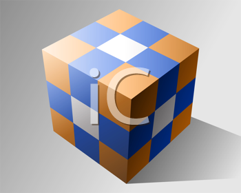 Royalty Free Clipart Image of a Coloured Cube