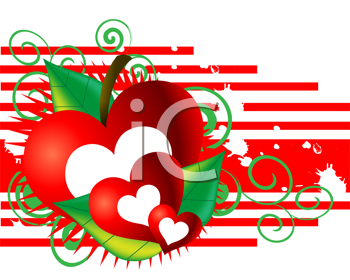 Royalty Free Clipart Image of an Apple Heart Valentine Background