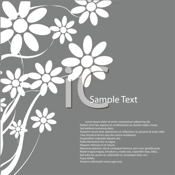 Royalty Free Clipart Image of a Grey Background With Flowers