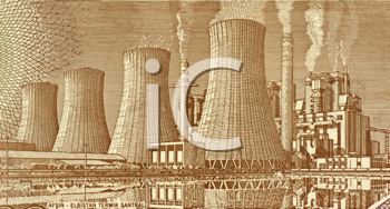 Royalty Free Photo of Afsin Elbistan Thermal Power Plant on a Turkish Banknote