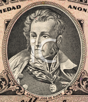 Royalty Free Photo of Antonio Jose De Sucre (1795-1830) on 5 Sucres 1988 Banknote from Ecuador. Venezuelan independence leader and one of Simon Bolivar's closest friends, generals and statesmen.