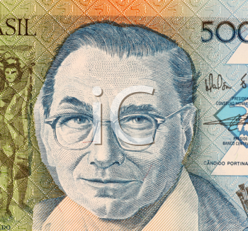 Royalty Free Photo of Candido Portinari on 5000 Cruzados 1988 Banknote from Brazil. One of Brazil's most important painters.
