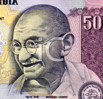 Royalty Free Photo of Gandhi on 50 rupees banknote from India