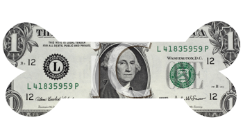 Royalty Free Photo of a One Dollar American Bill in the Shape of a Bone