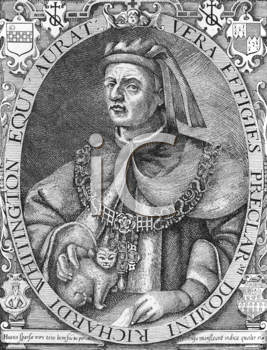 Royalty Free Photo of Richard Whittington (1354-1423) on engraving from the 1800s. Medieval merchant and politician. Engraved by W.L.Thomas from an engraving by Reginald Elstrack.