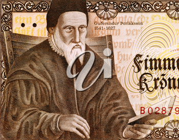 Gudbrandur Thorlaksson (1541-1627) on 50 Kronur 1981 Banknote from Iceland. Icelandic mathematician, cartographer and clergyman.