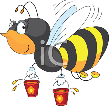 Royalty Free Clipart Image of a Bee With Honey Pots