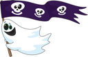 Royalty Free Clipart Image of a Ghost With a Pirate Flag