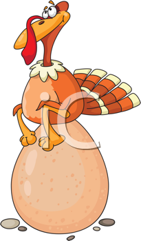 Royalty Free Clipart Image of a Turkey on an Egg