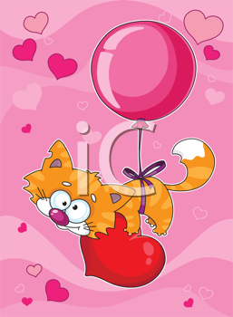 illustration of a valentines kitten