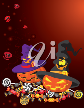 illustration of a Halloween pumpkin card