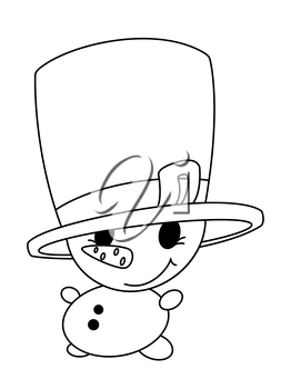 illustration of a small snowman outlined