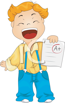 Royalty Free Clipart Image of a Child With an A+ Grade