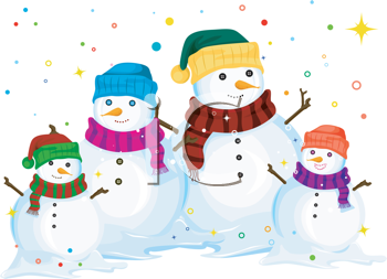 Royalty Free Clipart Image of a Snowman Family