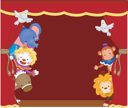 Royalty Free Clipart Image of Circus Clowns and Animals Behind a Stage Curtain