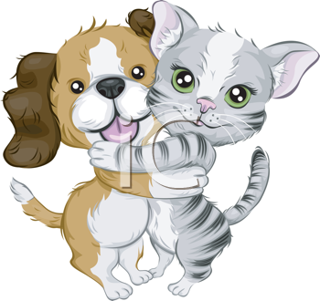 Royalty Free Clipart Image of a Hugging Cat and Dog