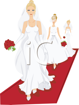 Royalty Free Clipart Image of Wedding Gown Models