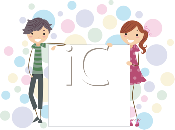 Royalty Free Clipart Image of a Couple of Young People Holding a Blank Board