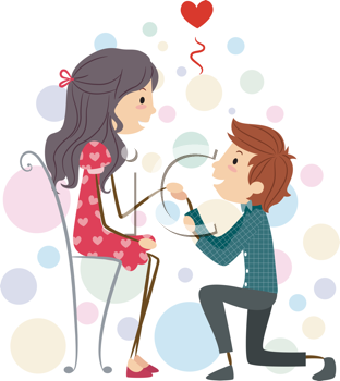 Royalty Free Clipart Image of a Boy Proposing to a Girl